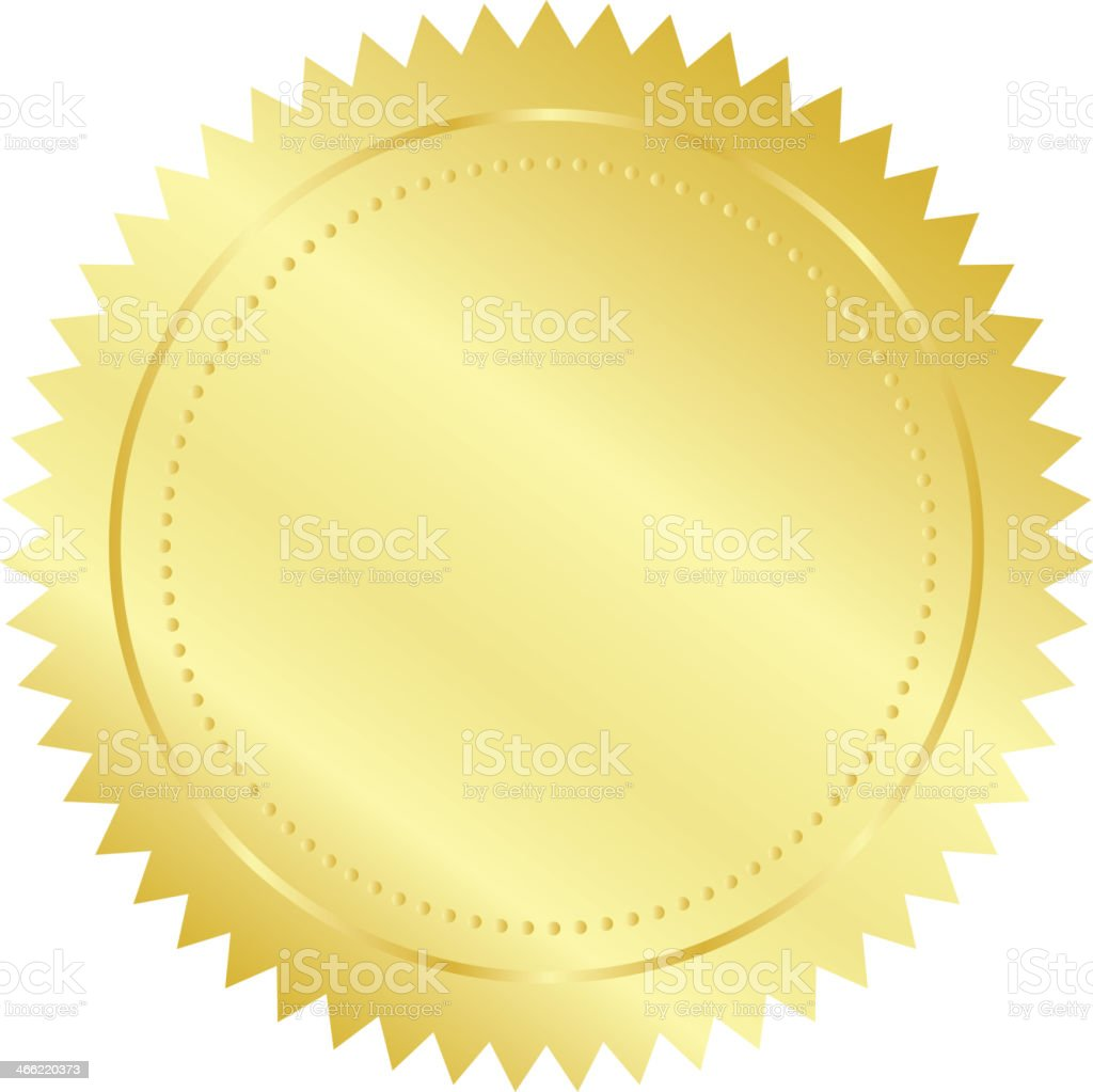 Blank golden seal against a white background royalty-free stock vector art