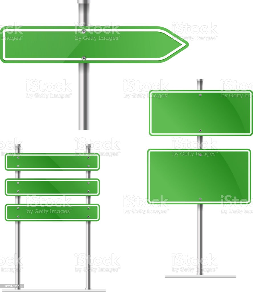 Blank green metal arrow boards collecion isolated on white vector art illustration