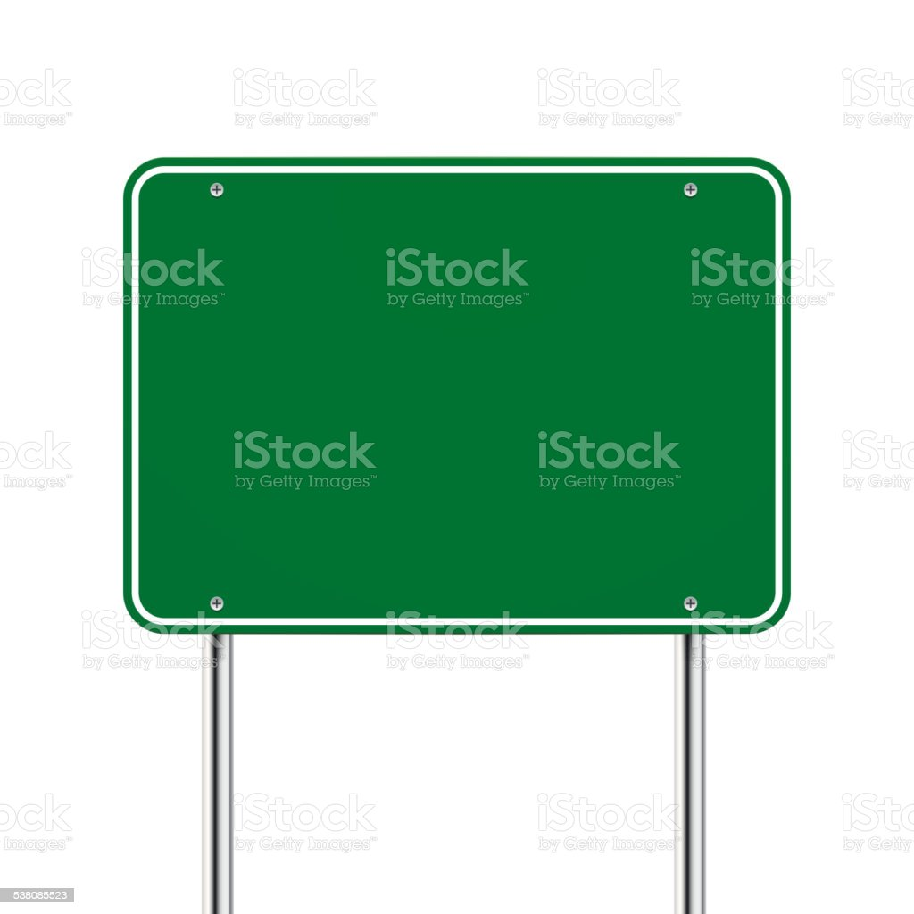 blank green road sign vector art illustration
