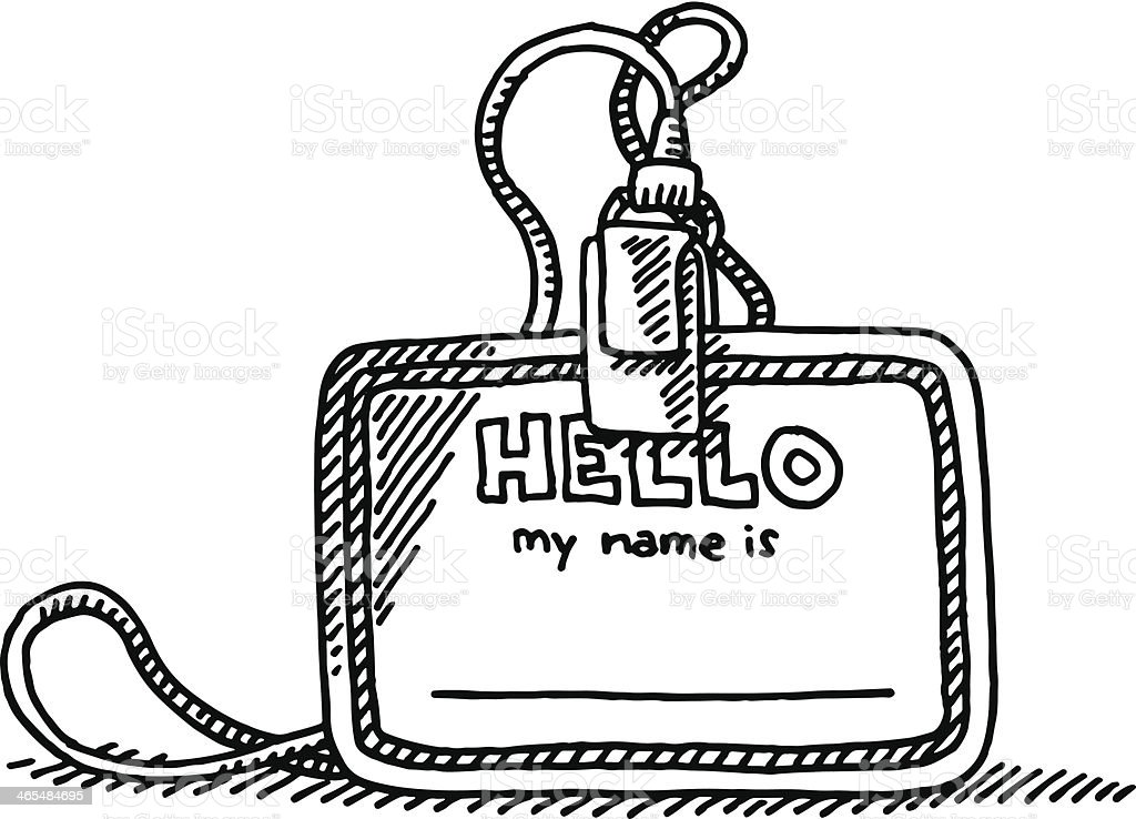 Blank Hello Name Tag Drawing vector art illustration