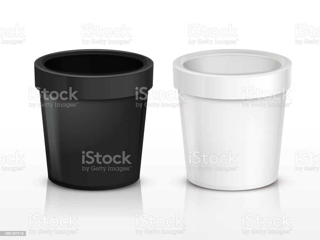 blank ice cream containers vector art illustration