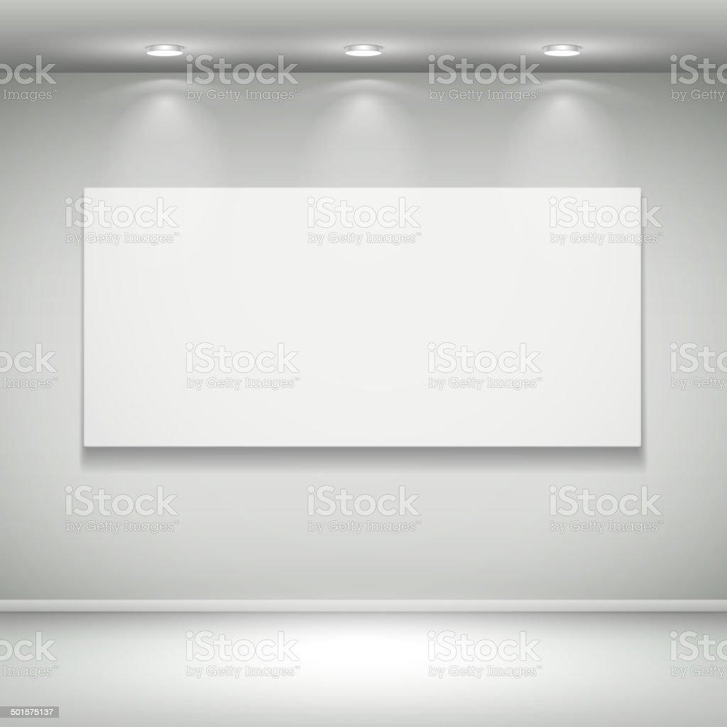 blank illuminated frame on the wall vector art illustration
