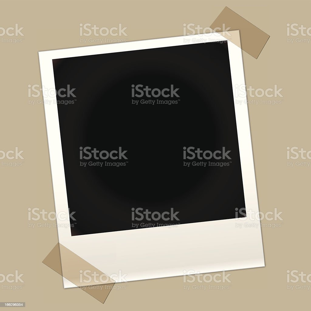 Blank instant photo with two taped corners vector art illustration