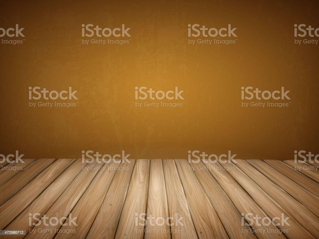 Blank interior wall with wooden floor vector art illustration