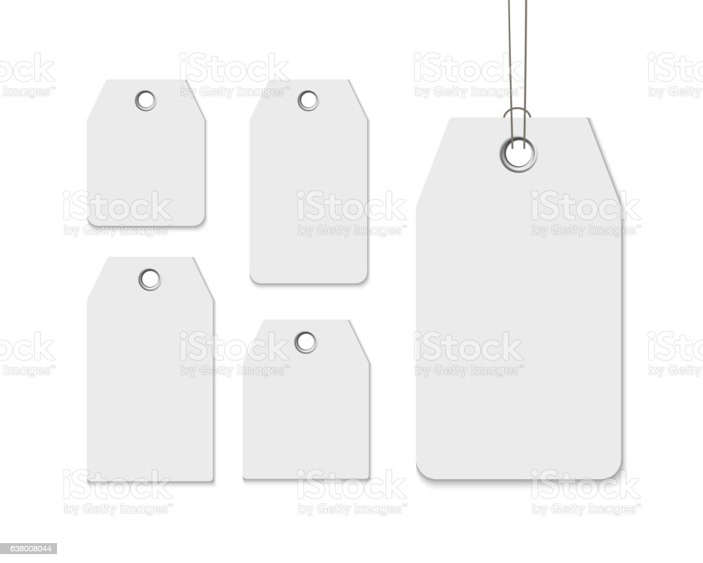 Blank labels template price tags set realistic vector vector art illustration