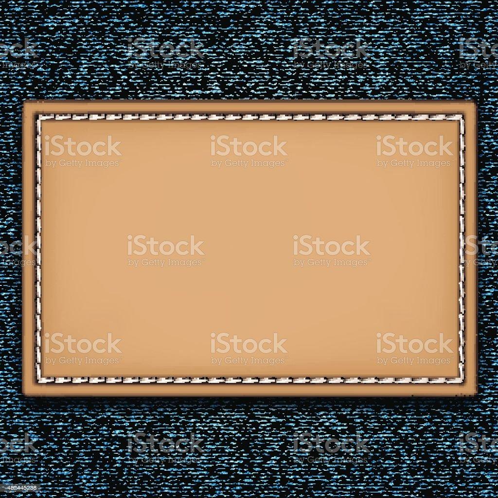 Blank leather jeans label vector art illustration
