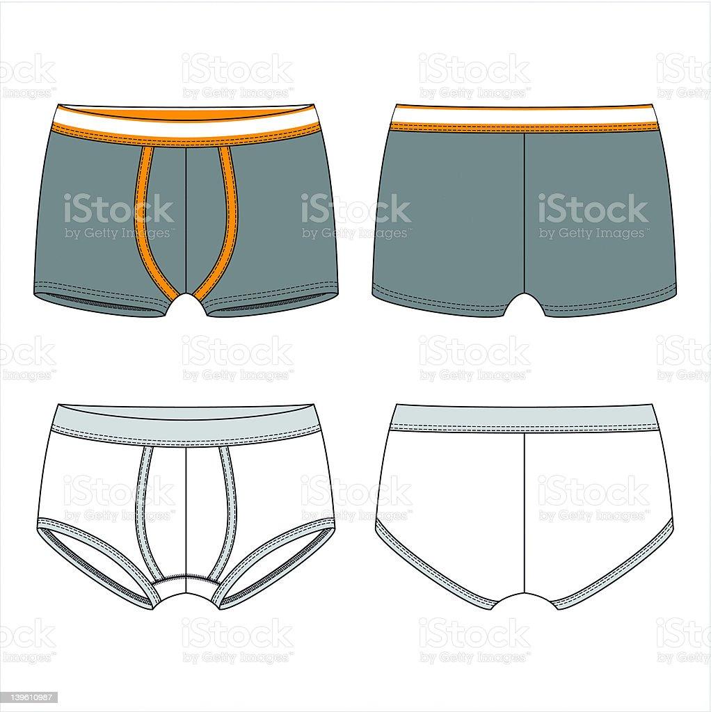 Blank male underwear vector art illustration