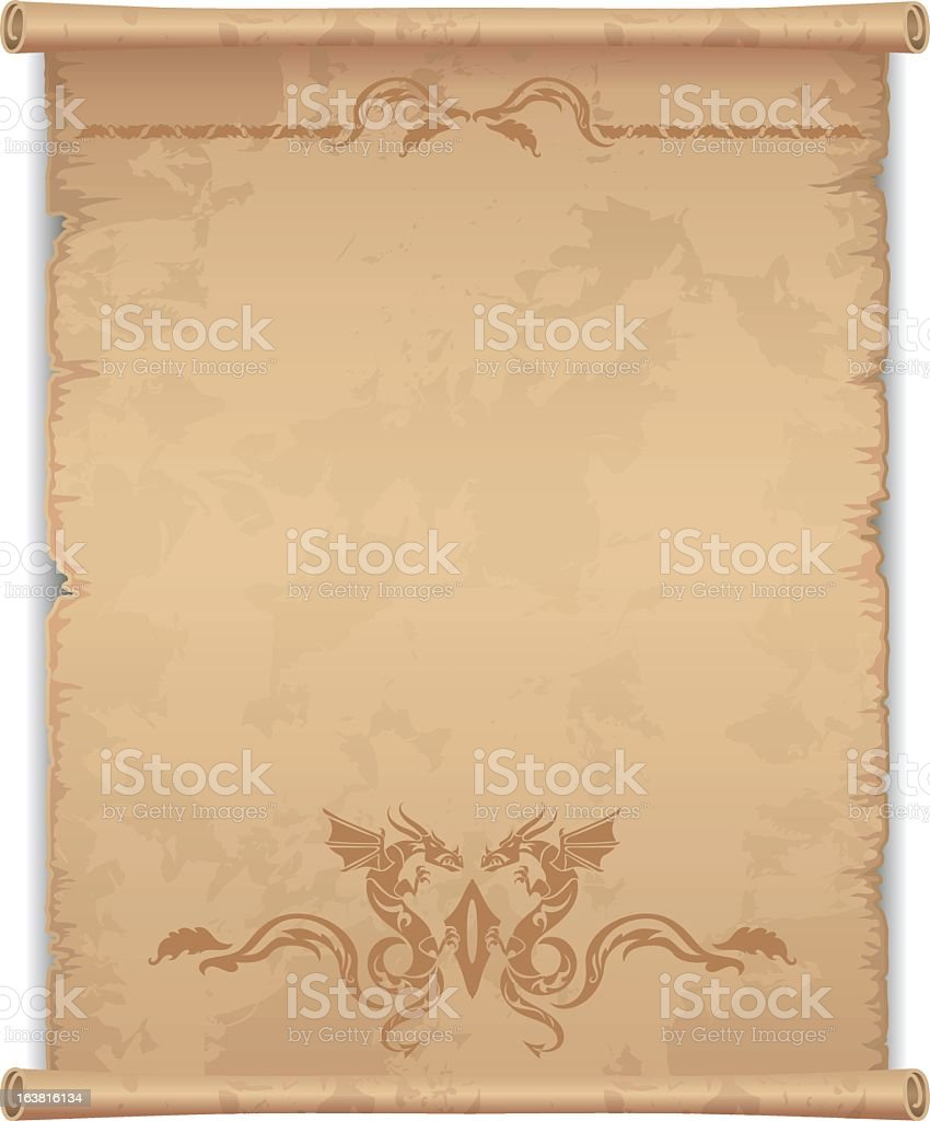 Blank manuscript with dragons decorating the footer royalty-free stock vector art