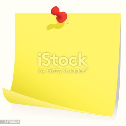 Blank Memo Note With Pin Stock Vector Art 158706608 | Istock