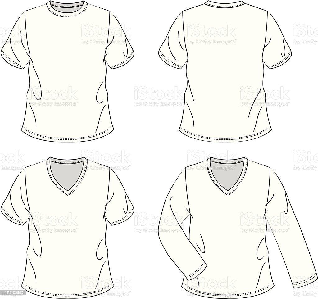 Blank Men's T-shirts vector art illustration