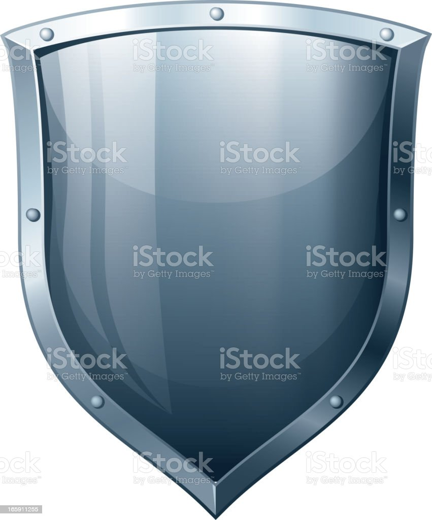 Blank metal shield over a white background vector art illustration