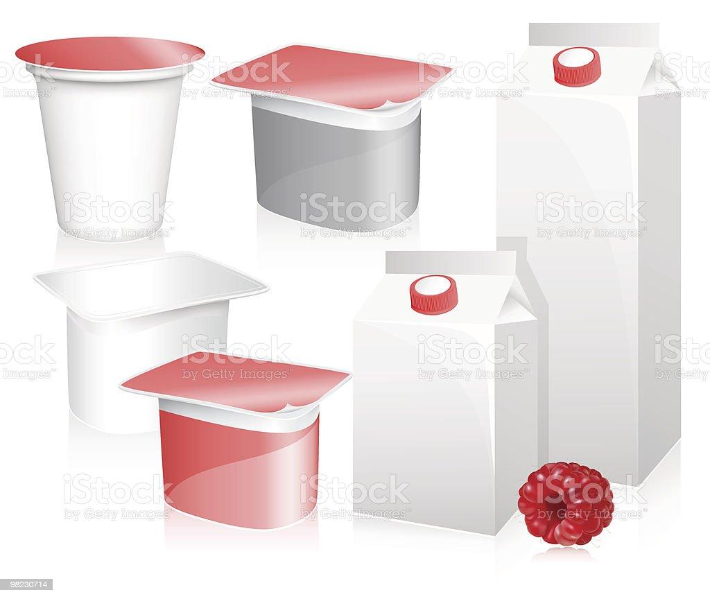 Blank milk and yoghurt packs with photo-realistic ripe raspberry. vector art illustration