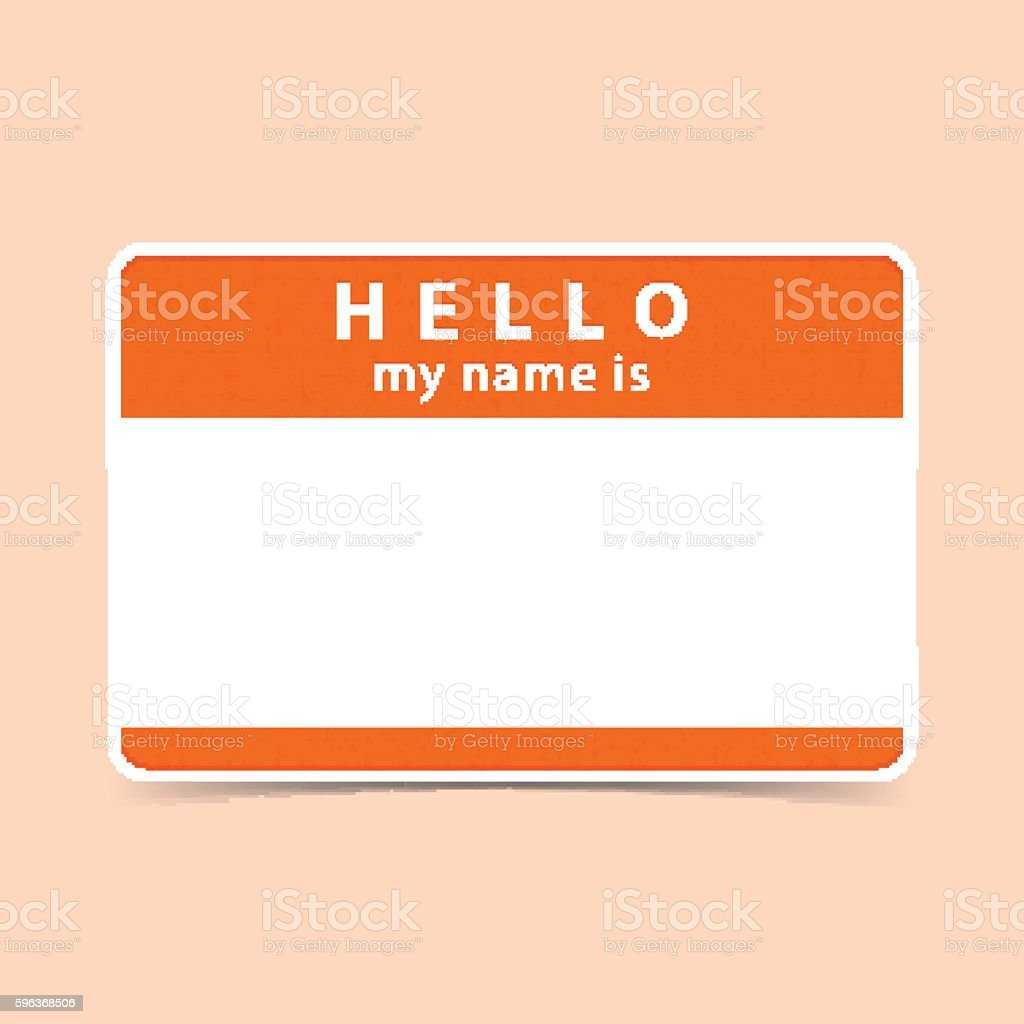 Blank name tag sticker HELLO vector art illustration