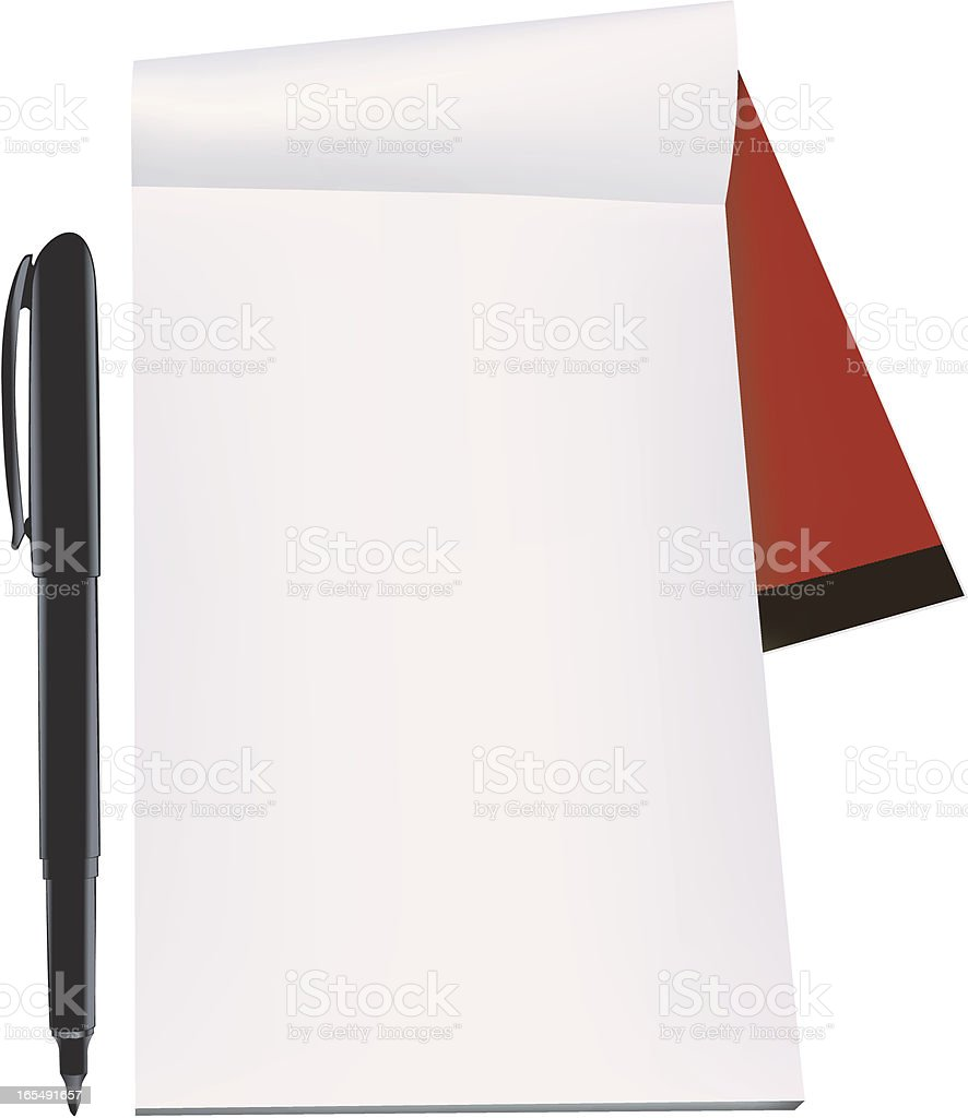 A blank notebook page with a pen isolated on white royalty-free stock vector art