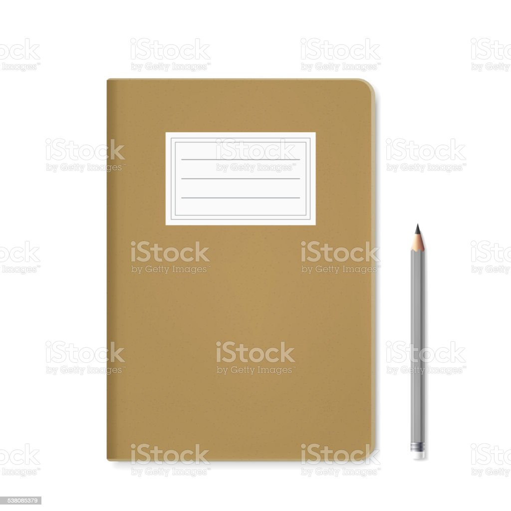 blank notebook template and pen vector art illustration