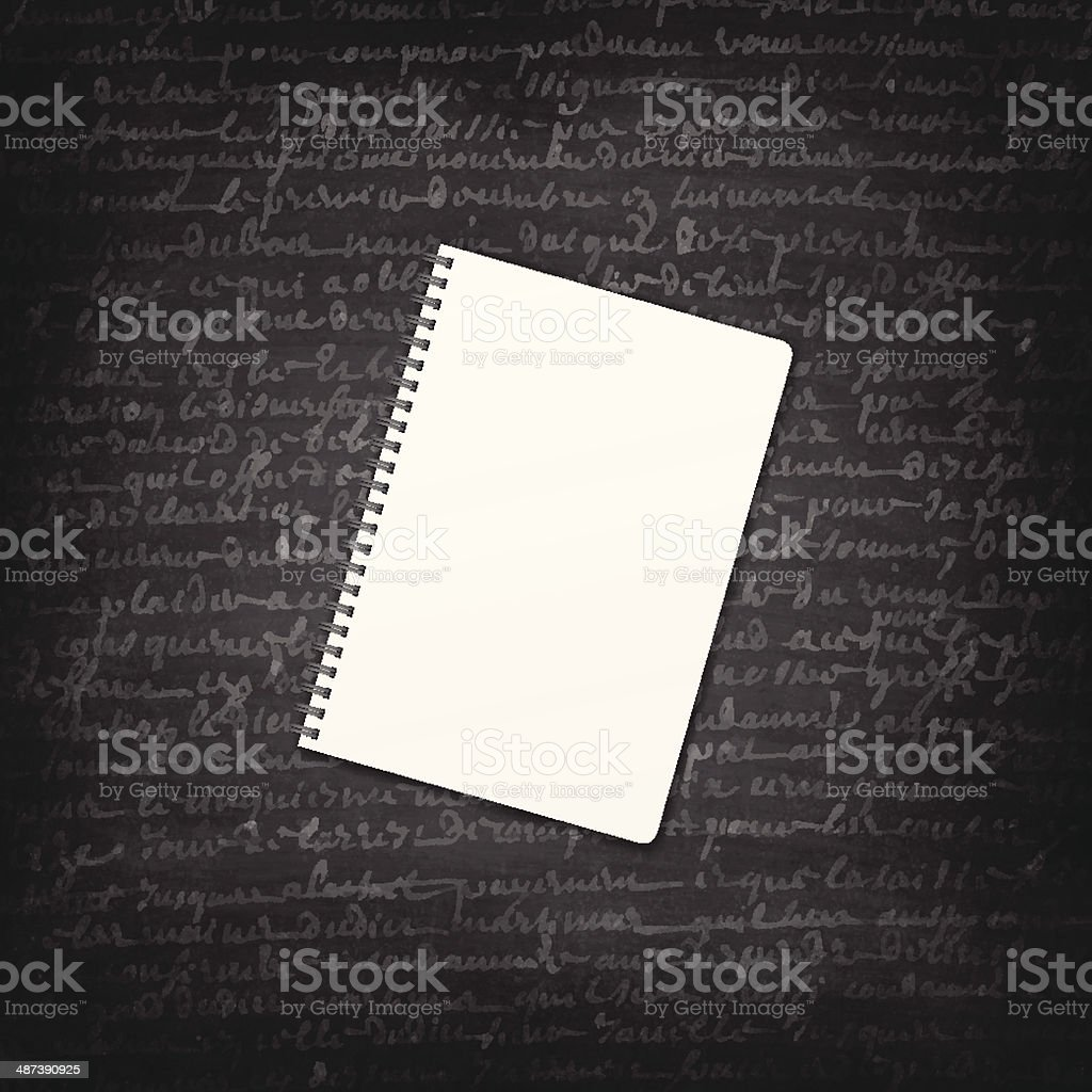 Blank Notepad on Blackboard - Chalkboard vector art illustration