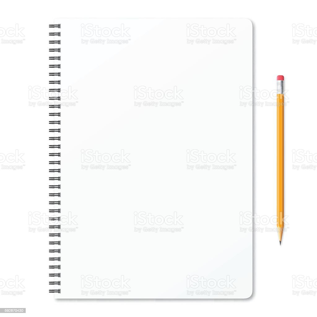 Blank notepad with pencil on white background vector art illustration