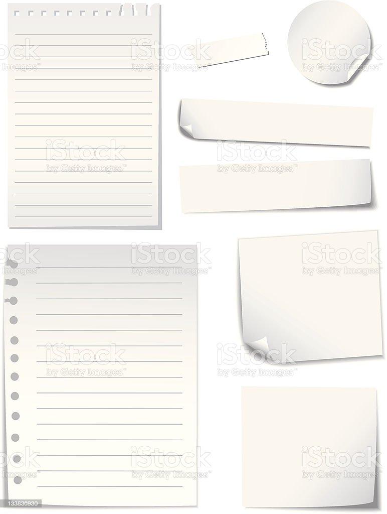 Blank  Notes  Paper set vector art illustration