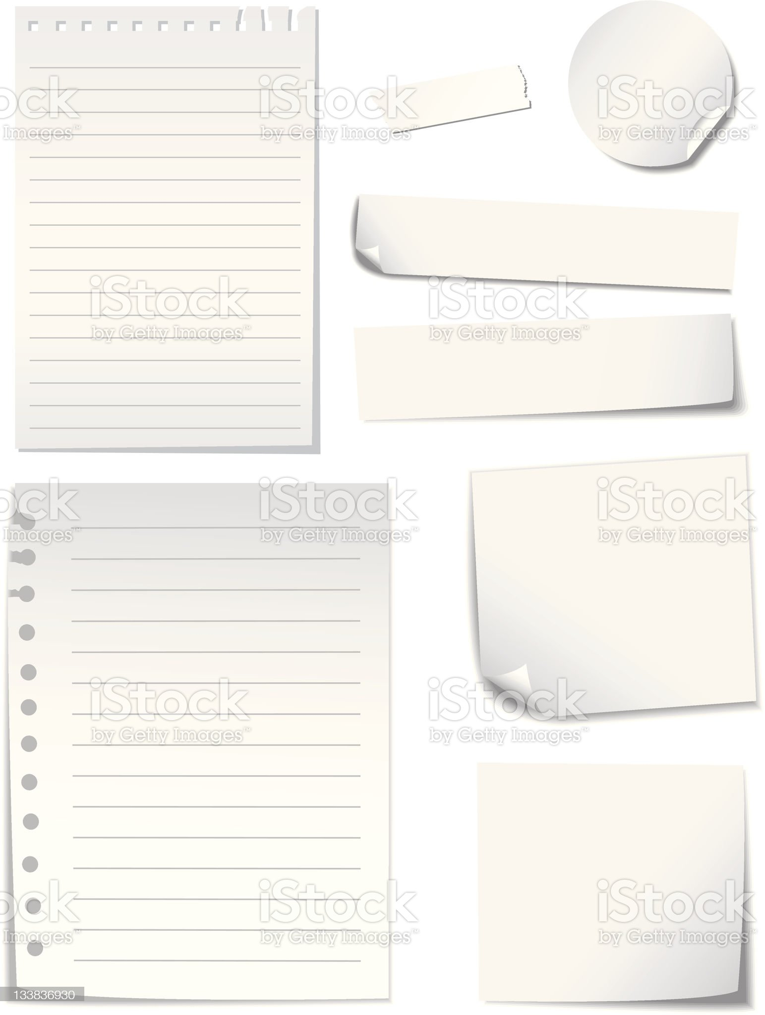 Blank  Notes  Paper set royalty-free stock vector art