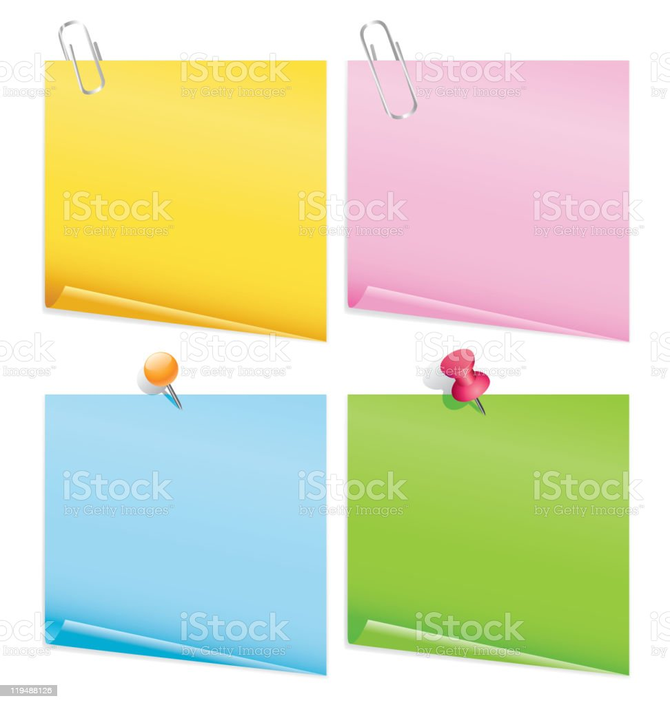 blank notes with clips royalty-free stock vector art