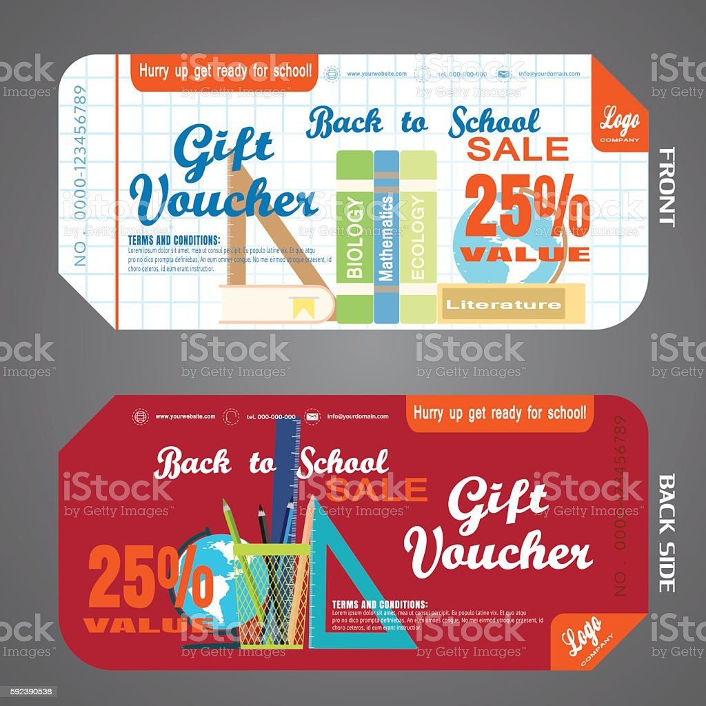 Blank of back to school gift voucher on checkered background. vector art illustration