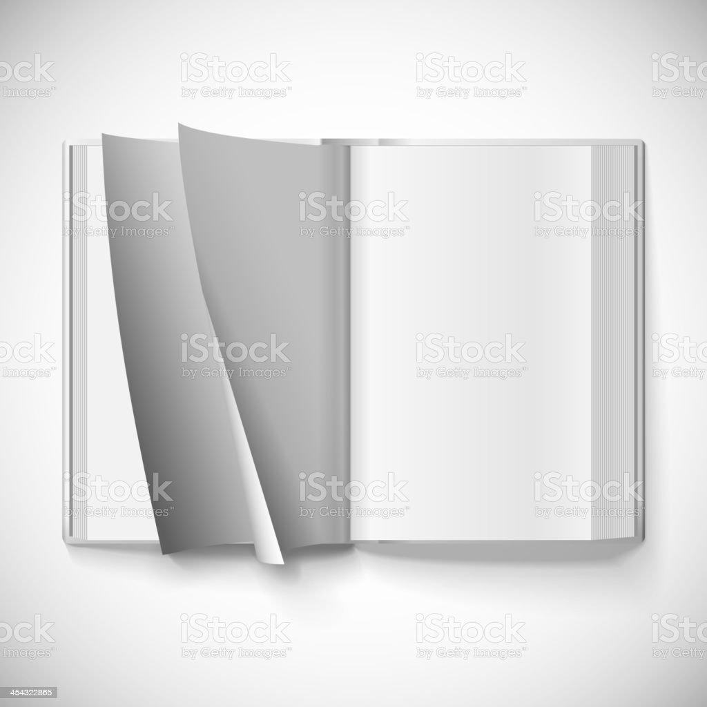 Blank open book, turn the pages vector art illustration