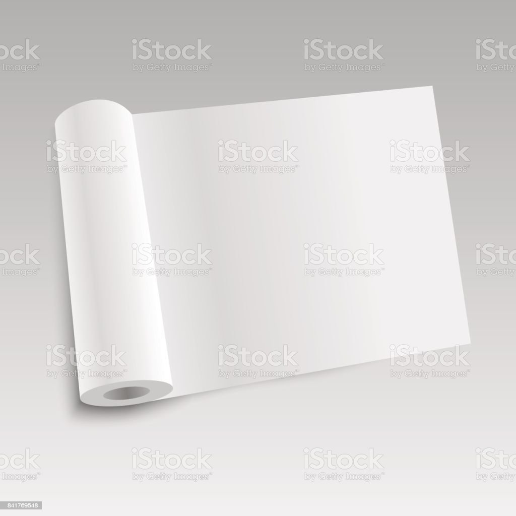 Blank open magazine template with rolled pages. Vector illustration vector art illustration