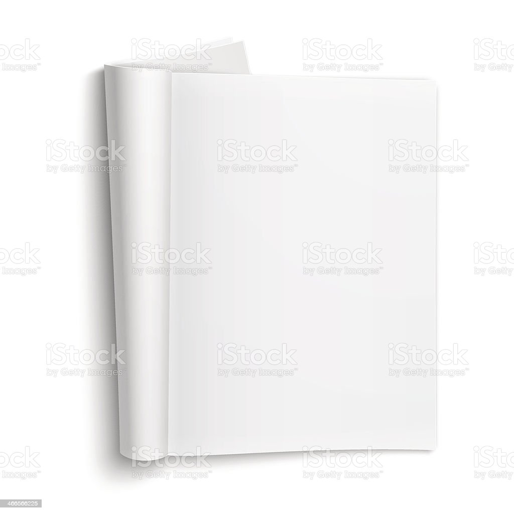 Blank open magazine template with soft shadows. vector art illustration