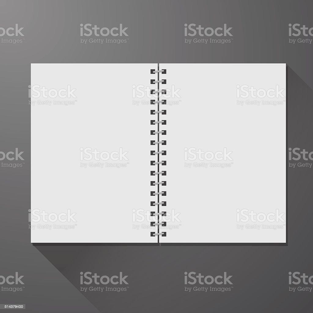Blank open notebook vector art illustration