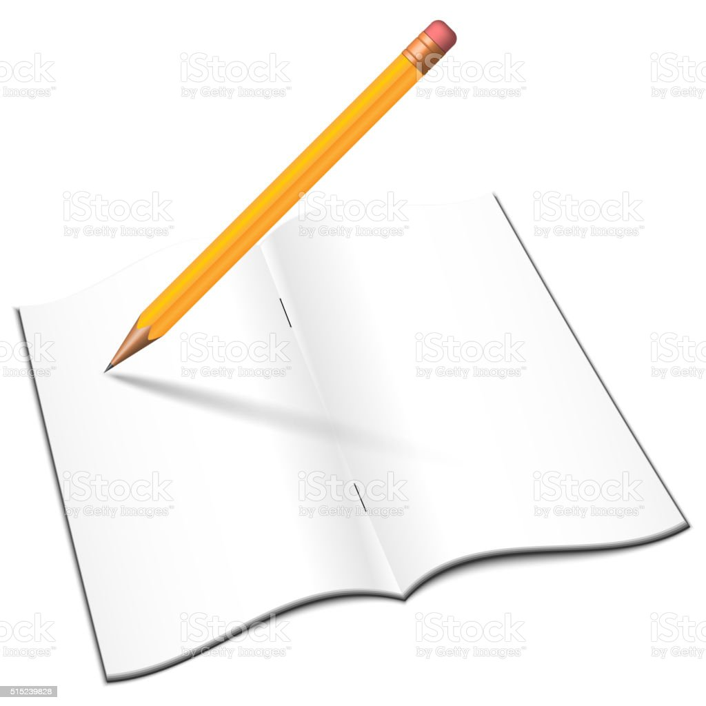 Blank open notebook with pensil vector art illustration