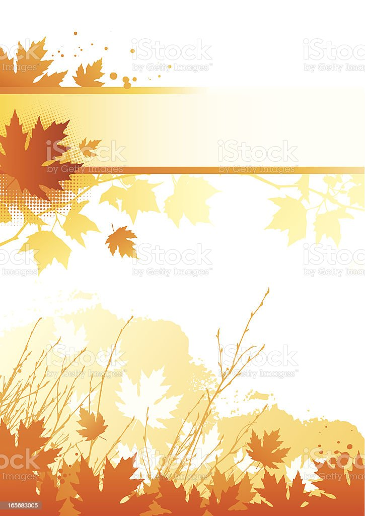 A blank orange and white template of fall leaves royalty-free stock vector art