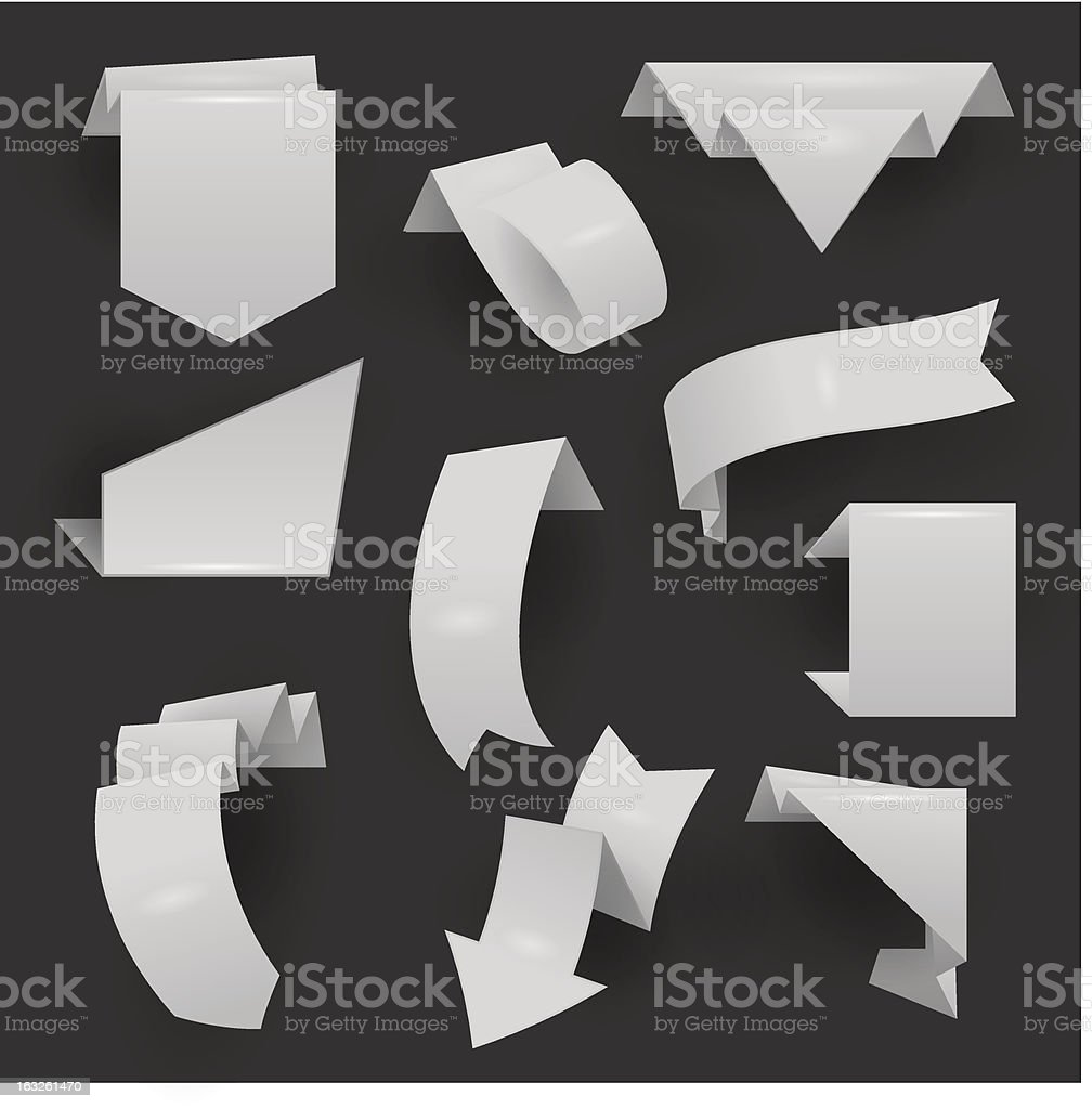 Blank origami ribbons vector art illustration