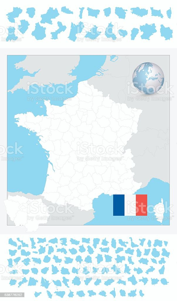 Blank outline map of France vector art illustration