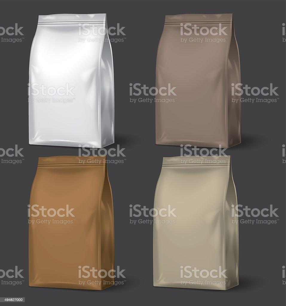 Blank Packaging, set of 4 vector art illustration