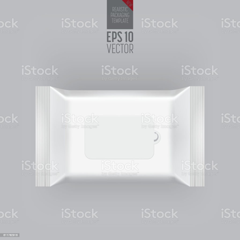 Blank packaging template mockup isolated on grey. vector art illustration