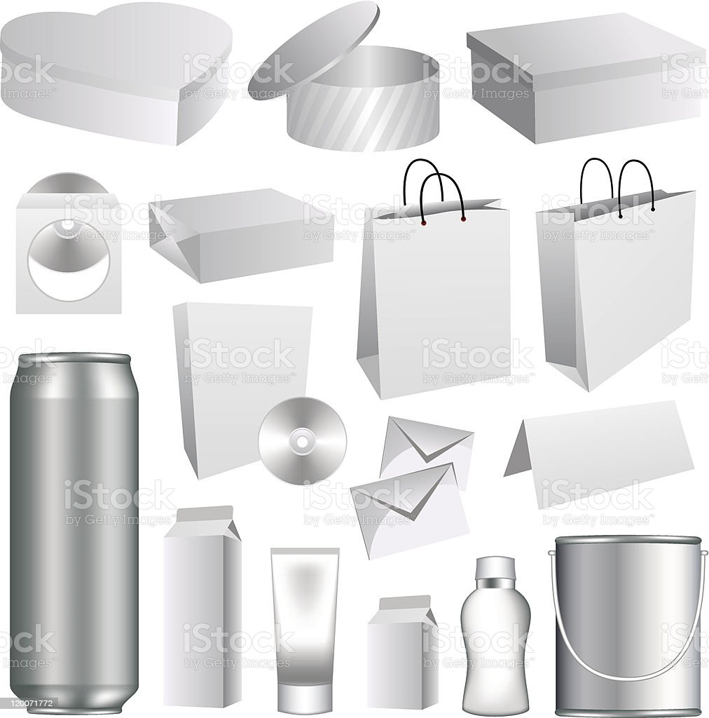 Blank packaging templates collection royalty-free stock vector art