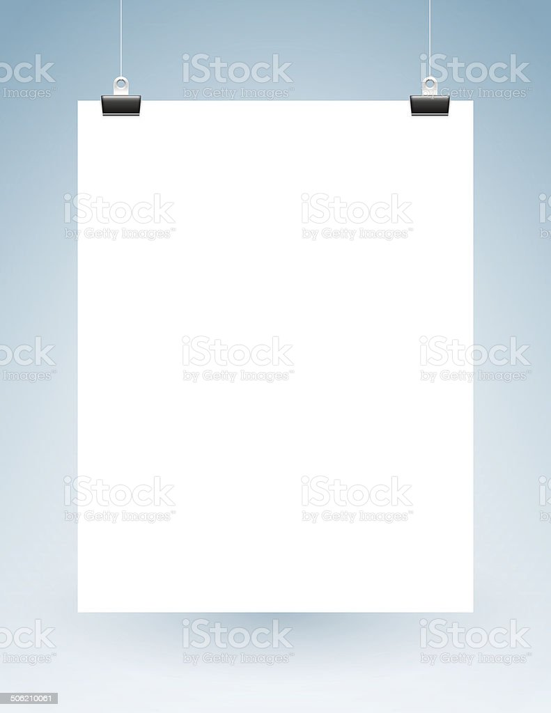 Blank Page Hanging on Strings vector art illustration