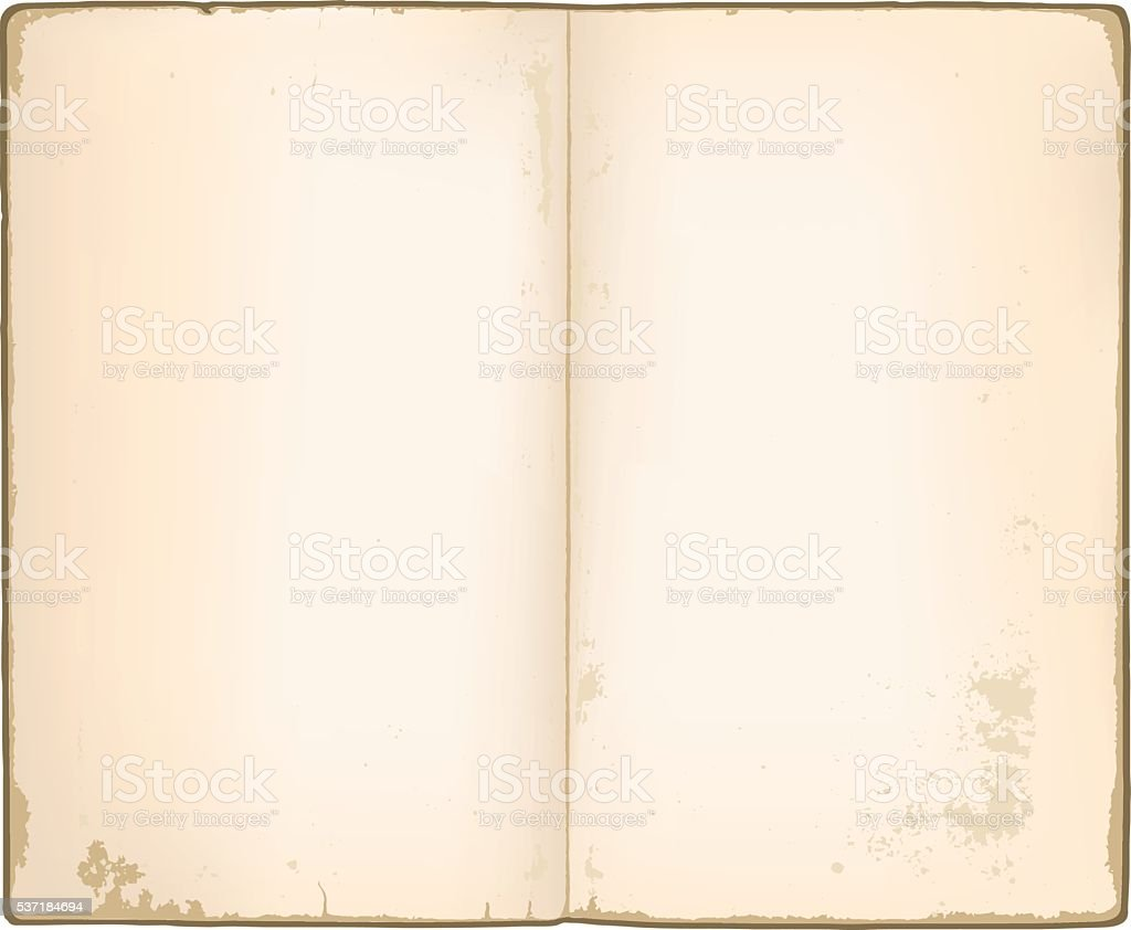 Blank pages in old notebook vector art illustration