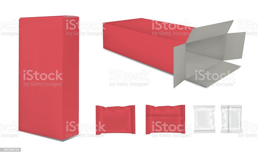 Blank paper box and foil food snack pack for chips. vector art illustration