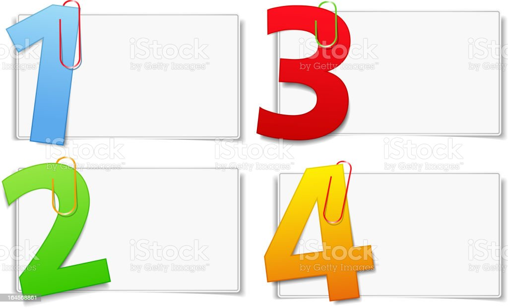 Blank paper cards with numbers paper clipped on them royalty-free stock vector art