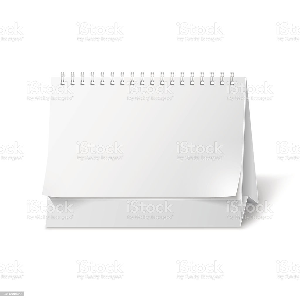 Blank paper desk calendar vector art illustration