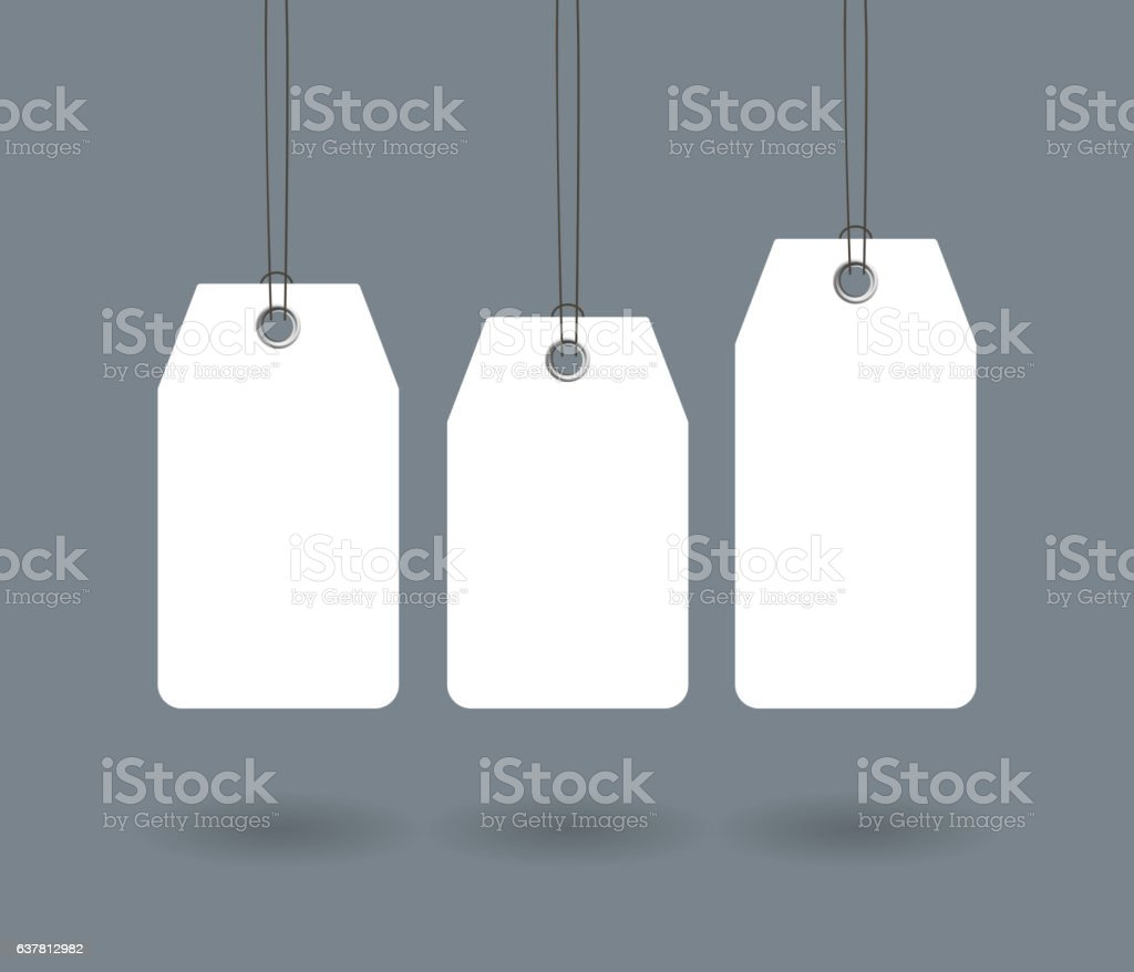 Blank paper label or cloth tag set isolated vector art illustration