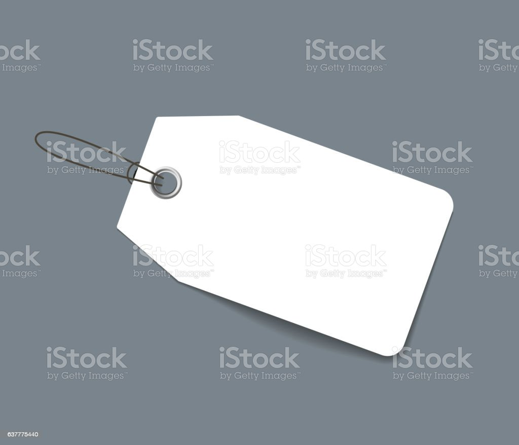 Blank paper price tag or label isolated vector art illustration