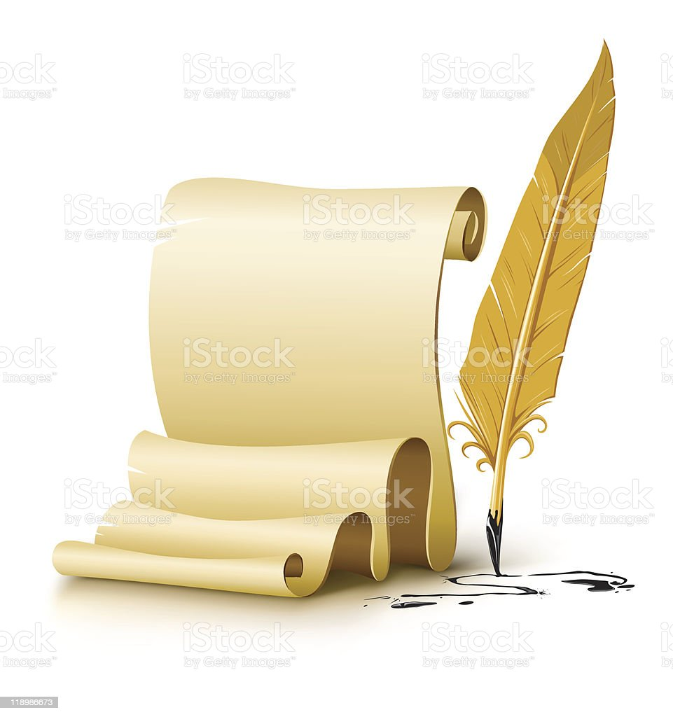 blank paper script with old ink feather pen royalty-free stock vector art