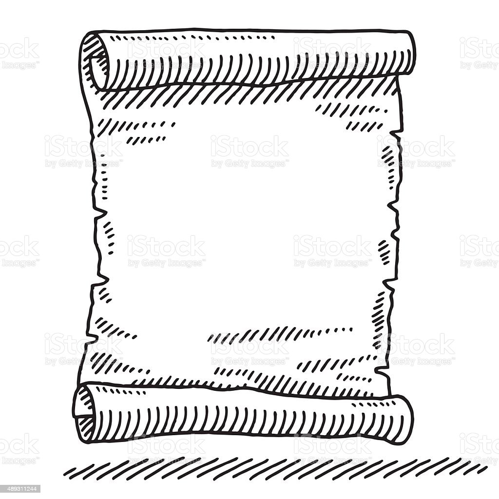 Blank Paper Scroll Drawing vector art illustration
