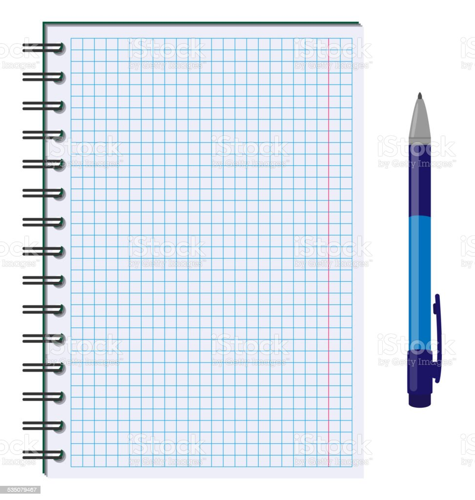 Blank paper sheet in cage with pen isolated on white vector art illustration
