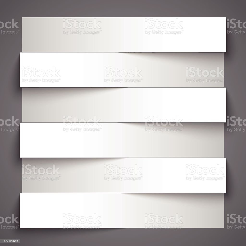 Blank paper stripe banners with shadows on dark grey background vector art illustration