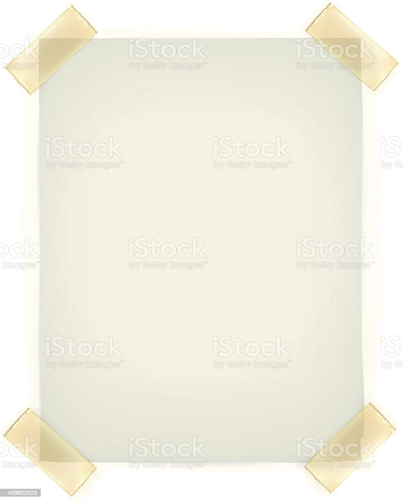 Blank paper taped with yellow tape to a white wall vector art illustration