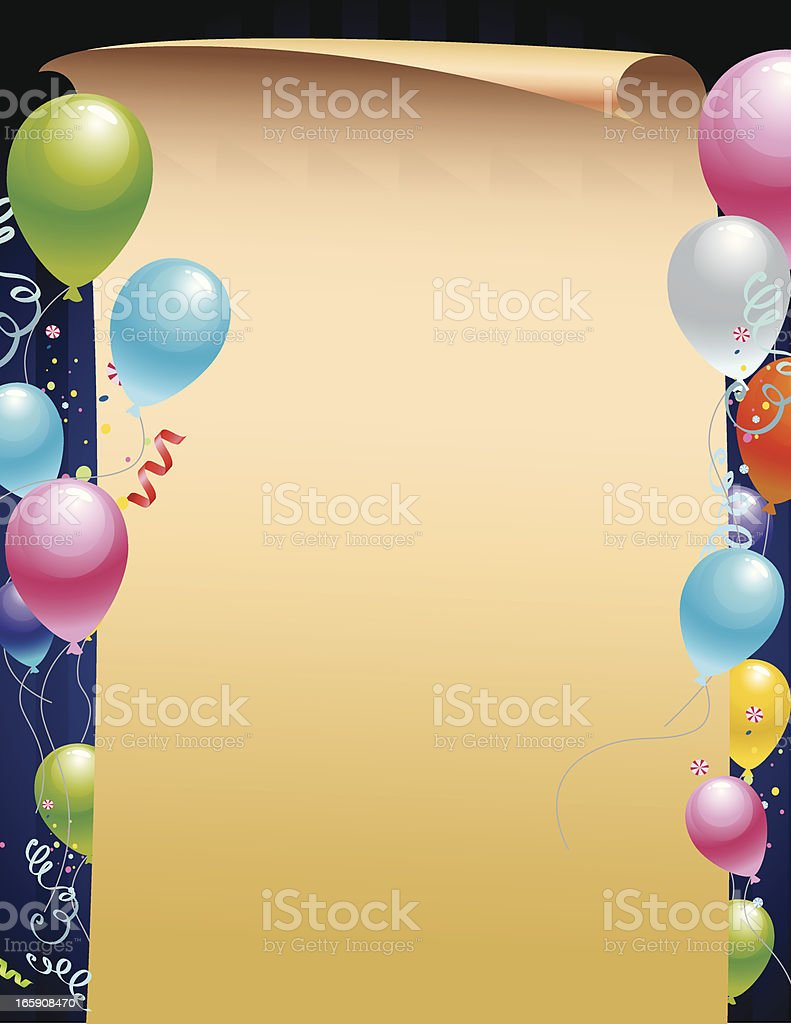 Blank Paper with Balloons royalty-free stock vector art