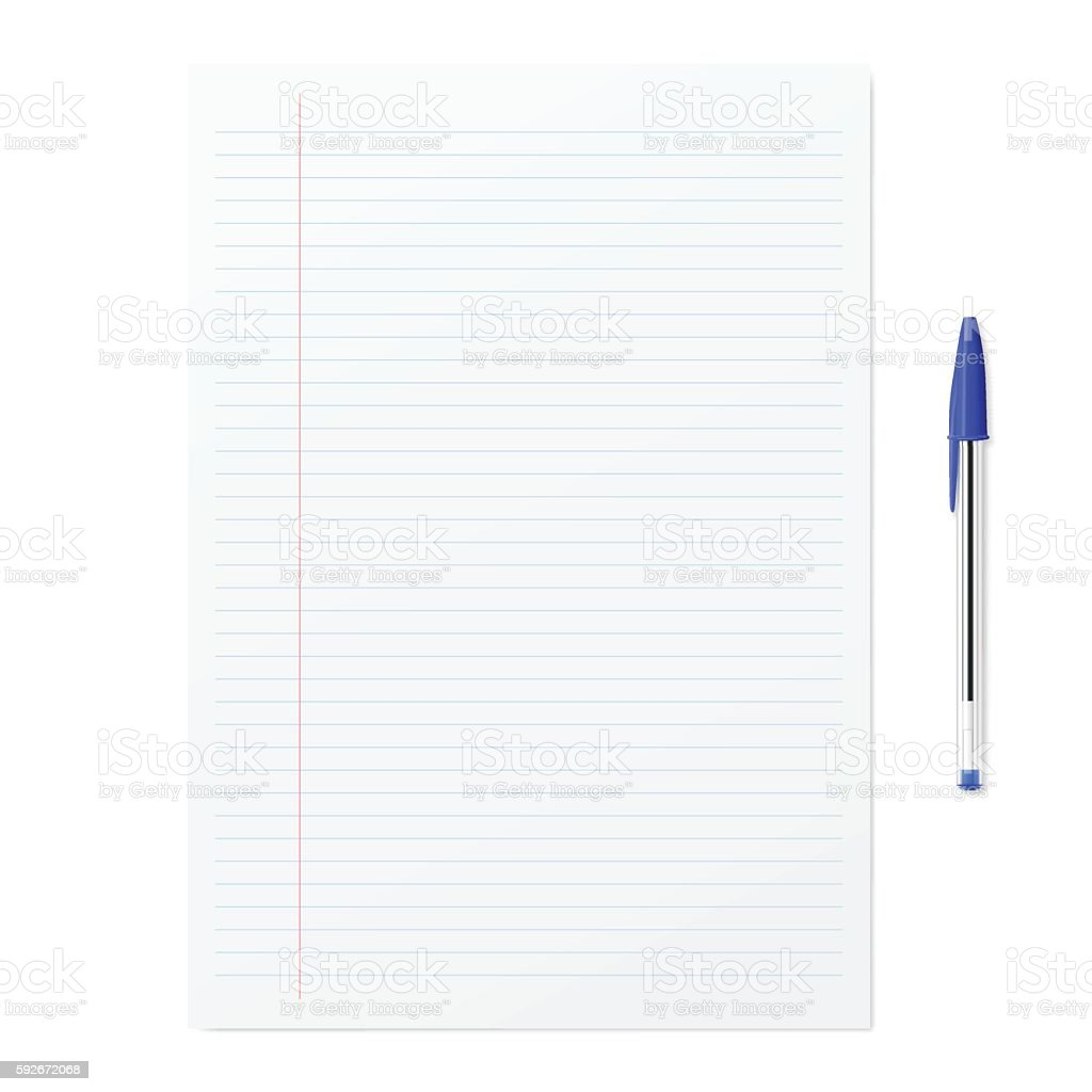 Blank paper with blue ballpoint pen on white backgorund vector art illustration